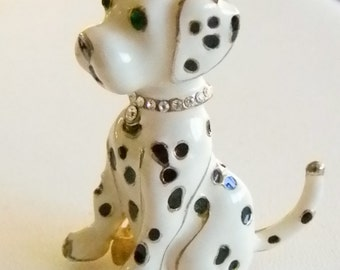 Enamel Gold Trimmed Spotted White Black Dalmatian Dog Puppy Pin Brooch