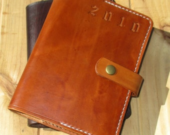 Personalized Leather Journal. Embossed Diary. Book Cover A6