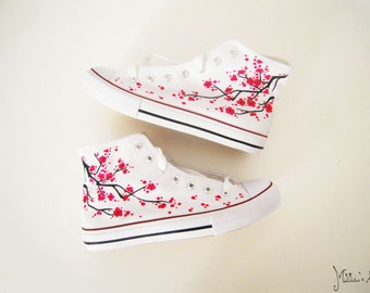 Japanese hand painted shoes / Sakura shoes / Cherry blossom shoes