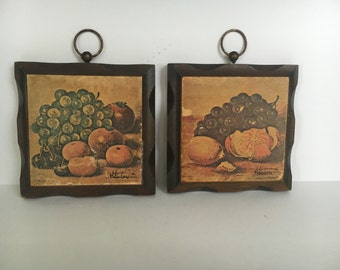 Vintage Kitsch Fruit Still Life Paintings Decoupage  Wood Plaques