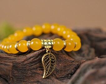 Agate bracelet, leaf bracelet, gemstone bracelet, stone bracelet, yellow bracelet, beaded bracelet, elegant bracelet, nature bracelet