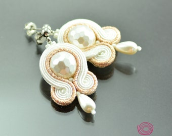 Small Whire Peach Soutache Earrings Pirate's pearls - Dangle Earrings - Bridal Pearl Earrings Small White Earrings - Pearl Soutache Earrings