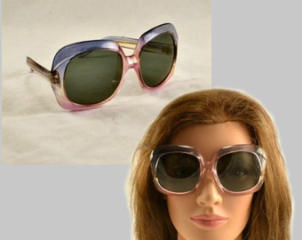 1960s Designer Sunglasses - Oversize Two Tone Lucite Acrylic Frames - Lavender to Pink - Greece - Vintage
