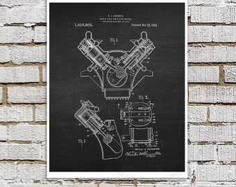 Willys Jeep Patent Print # 2, one single unframed art print, 1922 Baffle plate for V-type motors, Jeep Gift idea, Jeep Wall Decor
