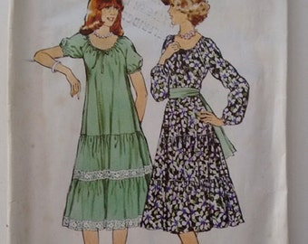 Vintage 70's Style 2157 Sewing pattern Gypsy Dress with Elasticated Neck and Tiered Ruffle Skirt Size Medium