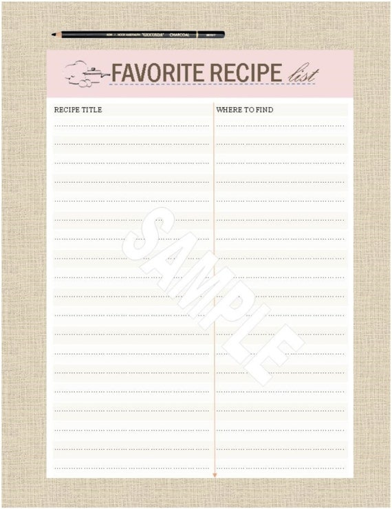 recipe printable lists favorite a5 instant