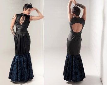 Sz. 4 Midnight Blue and Black Mermaid Gown Dress w/ Chains and Pockets Silk Faux Fur Leather Look Vamp Sexy Fantasy Ball Gown