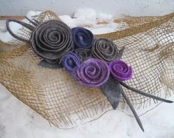 Felt brooch Felt pin Felt flowers Statement brooch Lilac brooch Violet brooch Purple brooch Wool jewelry Wool brooch Felt flower pin