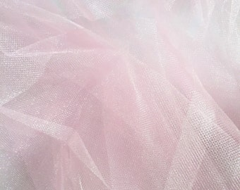 "Pink Tulle fabric, net for crafting, net dress, wedding, doll dress, skirt, decoration etc. 60"" wide by the yard"