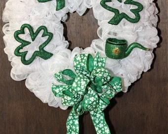Shimmering Shamrock-Themed Deco Mesh Wreath
