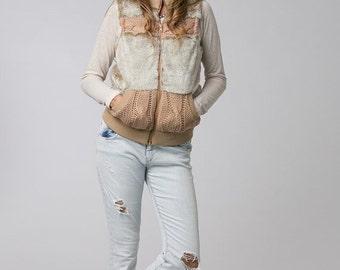 SUMMER SALE 20% Beige Faux Fur Vest For Women, Boho Chic Clothing, Boho Vest, Womens Vest, Fall Winter Clothing