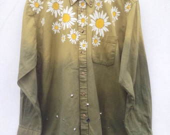 Daisy Floral Print Ombre Green Studded Shirt