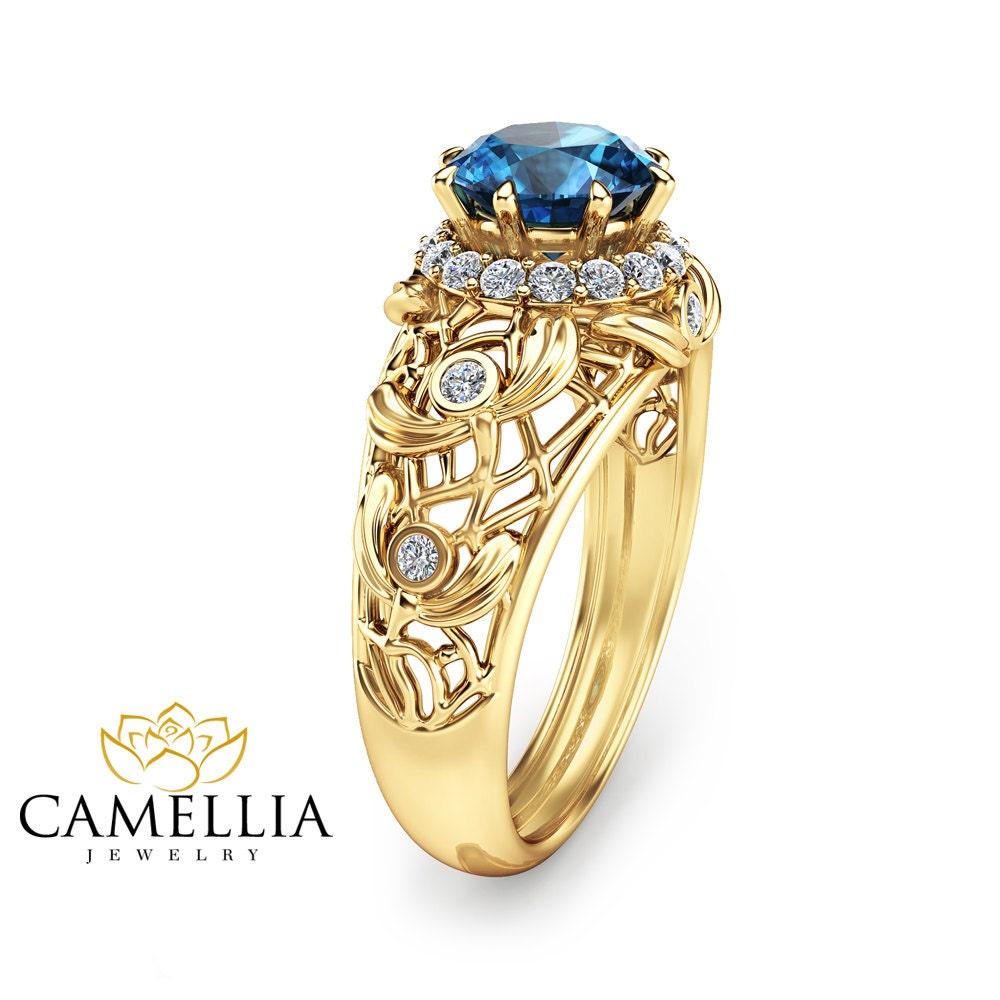14k gold topaz engagement ring unique engagement ring blue