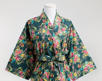 Maternity Kimono Robe. Maternity Bathrobe. Knee length XS - Plus Size. Hospital Gown Nursing. Post Delivery.Cotton Floral JDV Teal Pink Aqua