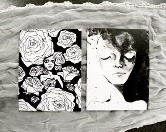 MOON ROSE - six postcard stationery set