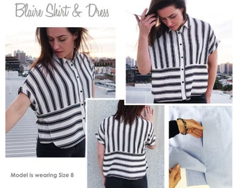 Blaire Shirt & Dress - Sizes 8, 10, 12 - PDF sewing pattern for printing at home by Style Arc - Instant Download