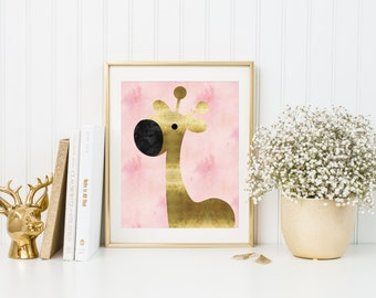 Pink and gold nursery art, Giraffe nursery print, Nursery Printable, Baby girl nursery,  Nursery wall art, Nursery decor, Pink watercolor