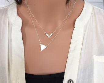 Chevron Necklace, Triangle Necklace, Minimalist Necklace, Geometric Necklace, Arrow Necklace, Long Triangle Necklace, Arrow and Triangle