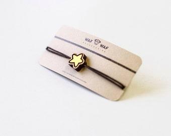 Wooden star bracelet. Wooden bracelet with a small star on it. Tiny star bracelet.