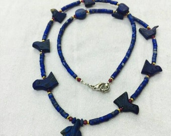 FREE Shipping Worldwide Afghan Antique Natural Real Lapis Lazuli with Garnet & Gold Plated Tiny Seed Beads Necklace Handmade Jewelry