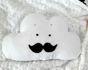 Cloud pillow. Black white cloud cushion. Moustache pillow. Moustache decor. Monochrome nursery. Baby bedding monochrome. Nursery cloud decor