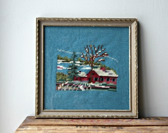 SALE-Vintage 1960's Framed  Needlepoint, Red House and Trees