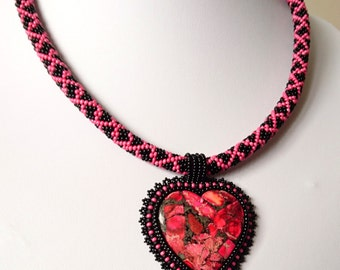 Beadwork Heart Necklace - Bead embroidered Pendant - Bead Embroidery Necklace - Gifts for Her - Christmas Gift - Valentines Day - Birthday