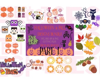 Halloween & Fall Bundle Part 1 - SVG, DXF, EPS, png, cutting files for Silhouette and Cricut Explore Machines.