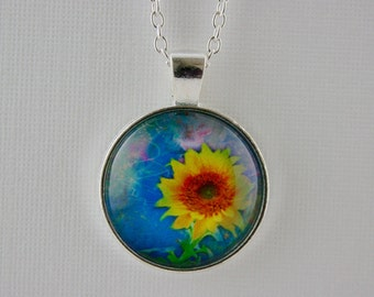 Sunflower pendant, blue, yellow and orange,  sunflower necklace, flower