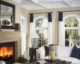 WHITE poly dupioni silk and NAVY curtain, poly dupioni silk, interior decor, window treatment, white, navy, dark blue