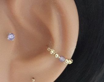 Natural Amethyst 2-3mm Conch Ring- Gold Conch Hoop- Silver Conch Piercing- February Birthstone-16-22 Gauge- 11-16mm Inner Diameter