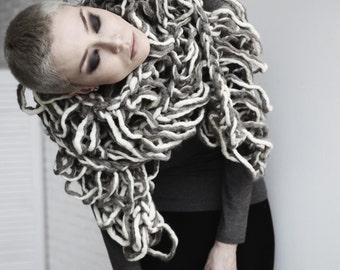 Merino wool hand knitted maxi scarf