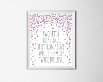 Two Little Blessings Sent From Above Twice The Smiles Twice The Love Twin Nursery Print Twin Nursery Decor Lavender Pink Silver Nursery Art