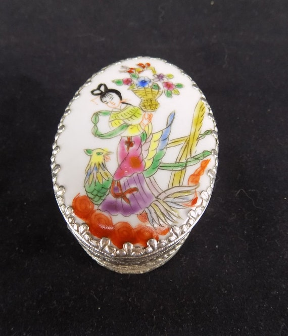 Ornate Chased Silver and Porcelain Asian Pill Box/Compact