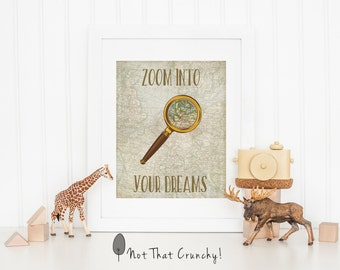 Explorer Nursery Art Print - Zoom into Your Dreams Nursery Wall Art -   Baby Shower Gift - Baby Boy Nursery Decor - Vintage Maps
