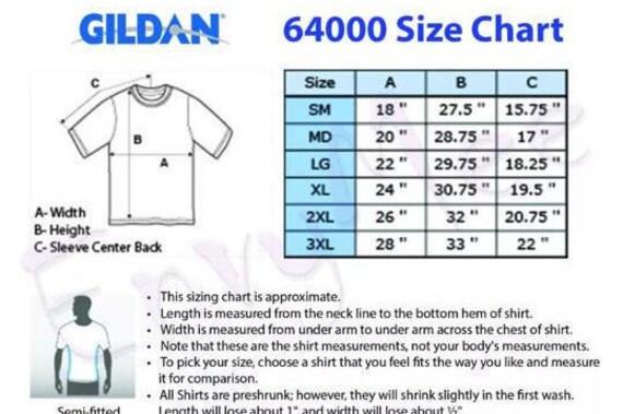 Gildan Unisex Shirt Size Chart Edgrafik