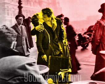 Kiss by the Hôtel de Ville by Robert Doisneau. Poster, wall decor, photo, vintage, art, photography, classic, american, iconic photograph.