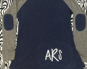 Personalized Preppy Patch Monogram shirt, Embroidery Preppy Patch Shirt, Monogram patch shirt, Monogram long sleeve shirt, Monogrammed shirt
