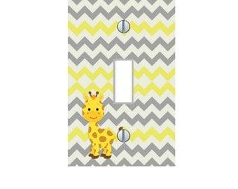 Yellow Giraffe Gray Yellow Chevron African Safari kids Home Decor giraffes Nursery LIGHT SWITCH PLATE Cover outlet Art