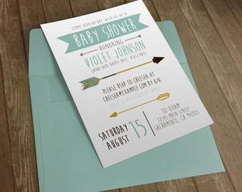 Baby Boy Shower Invitation - Boys Adventure Arrows