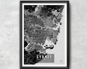Sydney Australia Map with Coordinates, Sydney Map, Map Art, Map Print, Sydney Print, Sydney Art, Sydney Wall Art, Map
