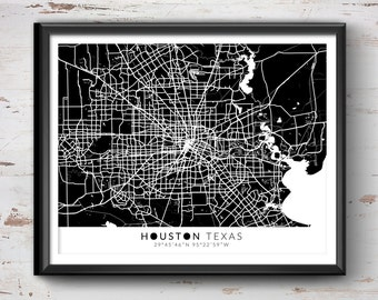 Houston Map with Coordinates, Houston Map, Map Art, Map Print, Houston Print, Houston Art, Houston Gift, Houston Decor, Houston Texas Poster
