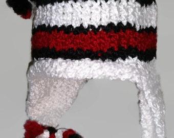 Red, White & Black Beanie, Warm Winter Hat