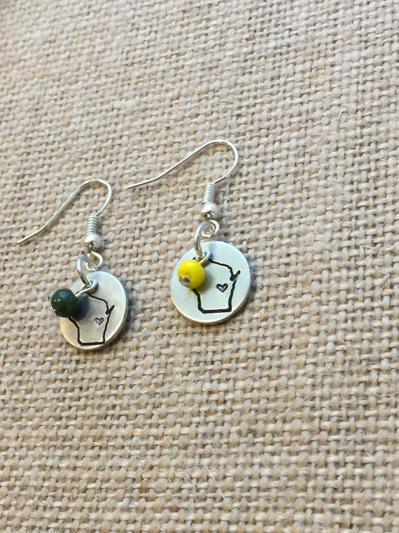 packers earrings green bay packers earrings wisconsin packer green and gold 4171