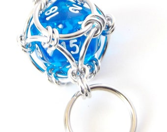 Bright Blue Dice Keychain, Caged Chainmaille D20 Geek Keyring, Father's Day Gift, Geek Gift, Dungeons and Dragons, DnD, RPG Accessories