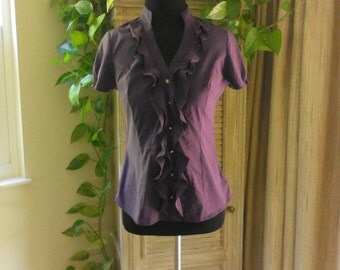 """Vintage Short Sleeve Purple Blouse Size XXS Petite by Express Fitted Blouse, Stretch Blouse, Career 22""""Blouse with Ruffles, Feminine Blouse"""