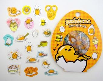 60 Japanese Gudetama lazy egg sticker flakes by Sanrio! Kawaii breakfast food - sushi - sweets & treats - sunny side up eggs - ramen noodle