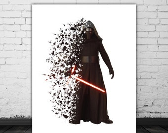 Star Wars Kylo Ren Poster Movie Prints, Star Wars Art, The Force Awakens Poster, Splash Art, Dark Side, Star Wars 7, Kylo Ren Lightsaber