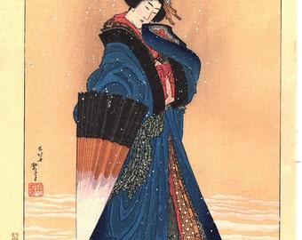 "Japanese Ukiyoe, Woodblock print, Katsushika Hokusai, ""Abelle in the snow"""