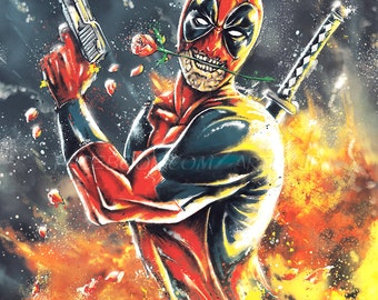 Deadpool - Tango of Death Epic Funny Action Movie Poster - museum quality giclée fine art print